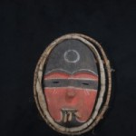 "Alutiiq Mask titled ""Ashik"" (""Protector"" is on the left of page)"