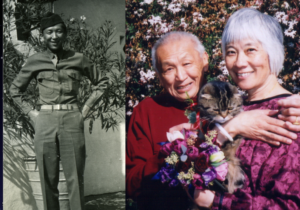 Eddie Fund in uniform (left) & Eddie with Judy Yung (right)